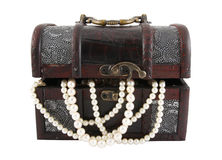 Treasure box and pearl Stock Image