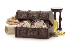Treasure box and sea concept on white Royalty Free Stock Images