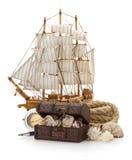 Treasure box and sea concept on white Stock Images