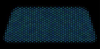 Treasure Brick Mosaic Icon of Halftone Bubbles. Halftone Treasure brick mosaic icon of empty circles in blue color tones on a black background. Vector empty Stock Photography
