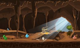 Treasure cave with chest gold coins, gems. Concept, art for computer game. Background image to use games, apps, banners vector illustration