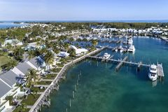 Treasure Cay Marina Aerial View 1 stock images