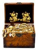 Treasure chest. With golden lucky cat and gold , isolated on white background royalty free stock photography