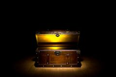 Treasure chest. Full of gold stock photography