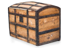 Treasure chest. of boards and forged components Stock Photos