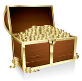 Treasure chest. Wooden treasure chest loaded with golden coins Stock Photos