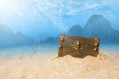 Treasure Chest. Photo of treasure chest submerged underwater with light rays stock photos