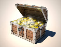 Treasure chest. Full of golden coins 3d illustration Royalty Free Stock Image