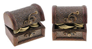Treasure chest. Buried treasure - miniature of an chest with treasure inside Stock Image