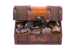 Treasure Chest. Front of treasure chest isolated on white background. The Chest is full of coins. Concept for lost treasure chest stock image