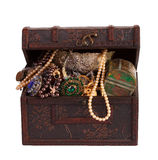 Treasure chest. Old treasure chest with vintage gems and jewellery royalty free stock photo