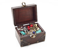 Treasure chest. Isolated on white Royalty Free Stock Photo
