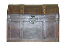 Treasure Chest. Antique leather treasure chest with brass fittings isolated on white Stock Photo