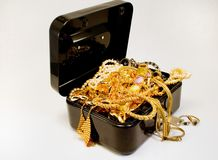 Treasure chest. A treasure chest filled with jewelry Royalty Free Stock Images
