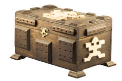 Treasure chest. An old wooden treasure chest against a white background Stock Photography