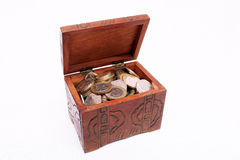 Treasure chest. Old treasure chest full of coins Royalty Free Stock Photos