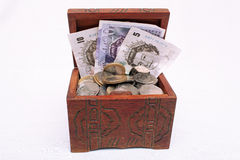 Treasure chest. Old treasure chest full of coins and notes royalty free stock photography