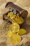 Treasure chest. With gold coins on sandy beach stock images