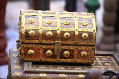 Treasure chest. Beautiful shot o golden treasure chest royalty free stock images