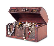 Treasure chest. Isolated on white background Stock Photos