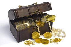 Treasure chest. With euro money and gold stock photos
