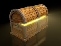 Treasure chest. Old treasure chest isolated on black background Royalty Free Stock Photo