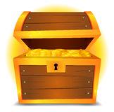 Treasure Chest. Illustration of a cartoon treasure chest with gold coins vector illustration