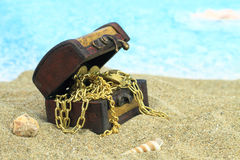Treasure chest. On a beach Stock Images