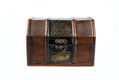 Treasure chest. Treasure wooden chest isolated on white background Stock Photography