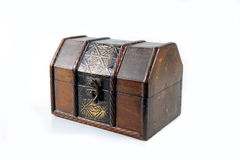 Treasure chest. Treasure wooden chest isolated on white background Royalty Free Stock Images