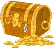Treasure chest. And pile of gold royalty free illustration