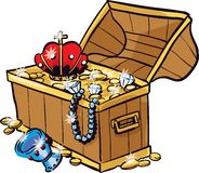 Treasure Chest. An antique chest full of glimmering treasure, including a crown, pearl necklace, gold coins, chalice, diamonds and other riches Stock Photography