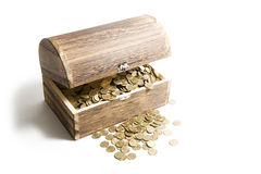 Treasure-chest. Old treasure-chest full of coins Stock Photography