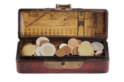 Treasure Chest. Chinese varnished chest full of coins - isolated on white Stock Photography