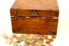 Treasure chest. Digital photo of a little chest with money Royalty Free Stock Image
