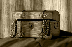 Treasure chest. Filled with pearls stock photos