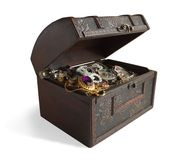 Treasure chest. Wooden treasure chest with valuables stock image