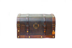Treasure chest. Old wooden chest on the white Royalty Free Stock Images