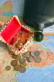 Treasure chest. Pirate's treasure chest and map from bottle Stock Image