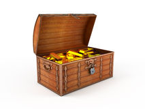 Treasure chest. With gold bars inside Stock Image