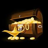 Treasure chest and Aladdin's magic lamp Stock Photos