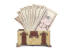 Treasure chest with American dollars Royalty Free Stock Photo
