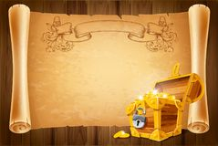 Treasure chest and antique scroll Royalty Free Stock Photo