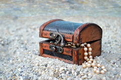 Treasure chest on the beach. Treasure chest on the sandy beach Royalty Free Stock Photography