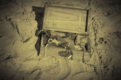 Treasure chest in black and white Stock Photo