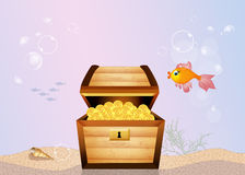 Treasure chest on the bottom of the sea. Illustration of treasure chest on the bottom of the sea Royalty Free Stock Photography
