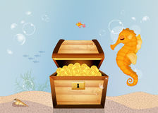 Treasure chest on the bottom of the sea. Illustration of treasure chest on the bottom of the sea Royalty Free Stock Image