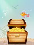 Treasure chest on the bottom of the sea. Illustration of treasure chest on the bottom of the sea Stock Photos