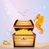 Treasure chest on the bottom of the sea. Illustration of treasure chest on the bottom of the sea Stock Photography