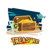 Treasure chest at the bottom of the sea. Vector illustration Stock Images